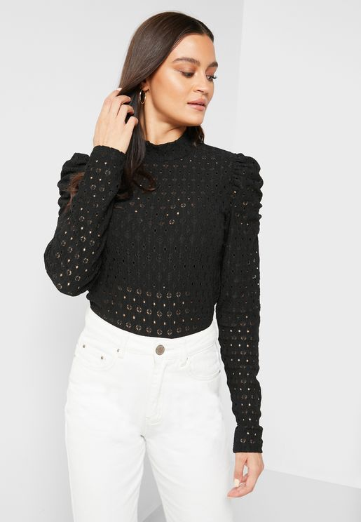 Laser Cut Detail Ruched Sleeves Top