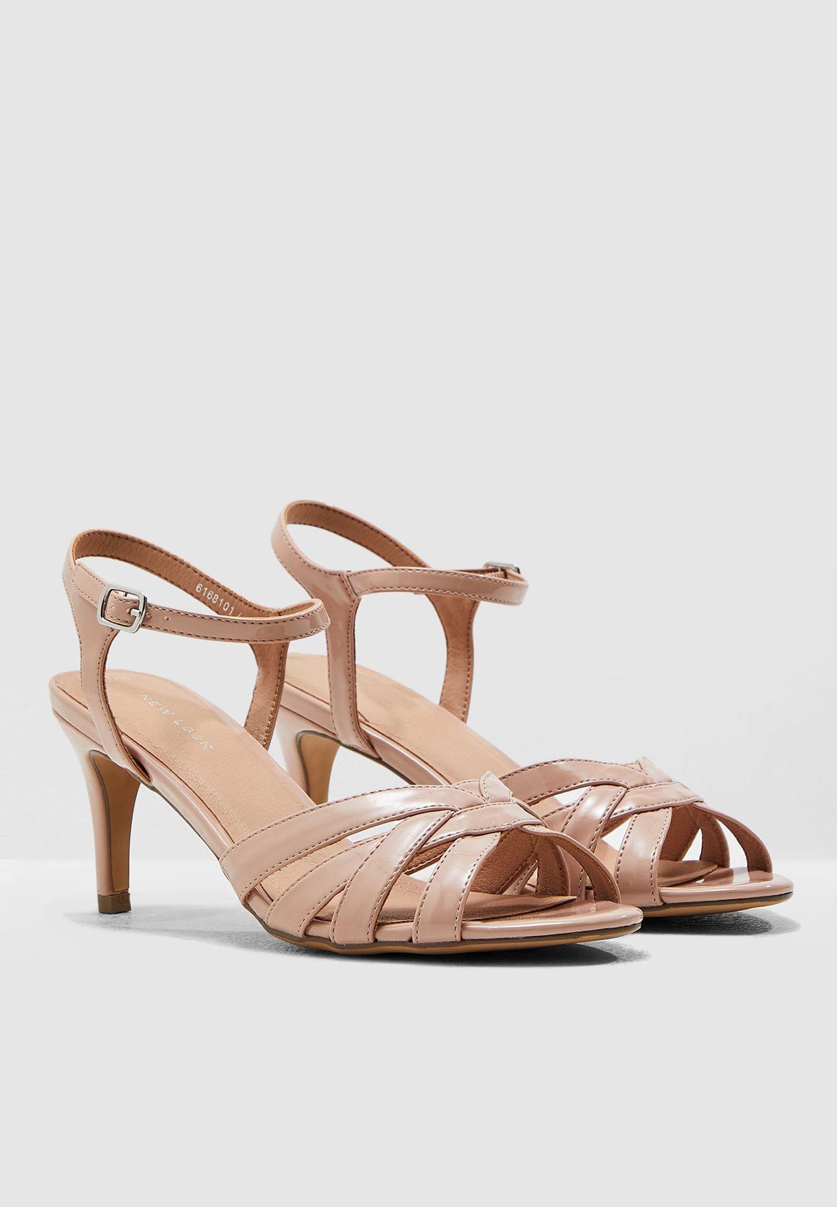 Shopper Ankle Strap Sandal - Beige