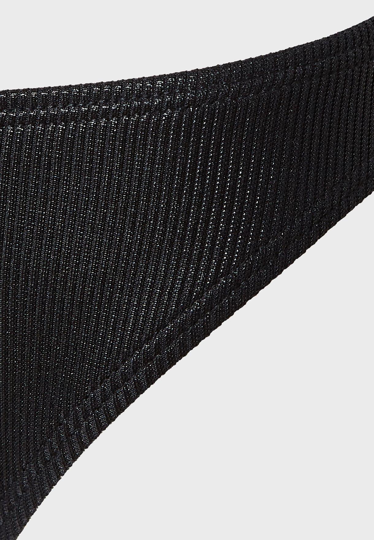 Metallic Rib Boomerang Bikini Bottom
