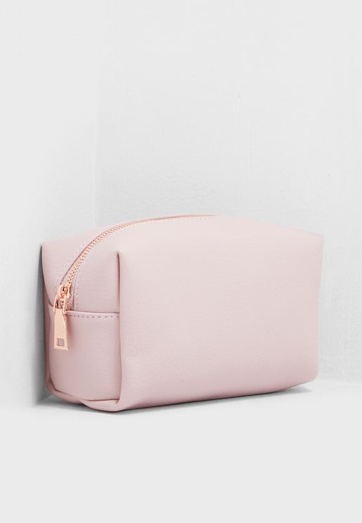 Pink Leatherette Cosmetic Bag