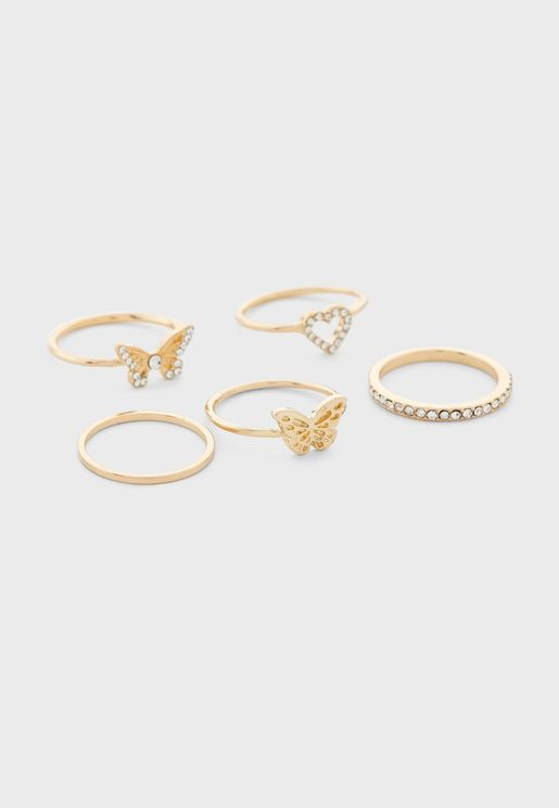 Mix Butterfly Ring Stack
