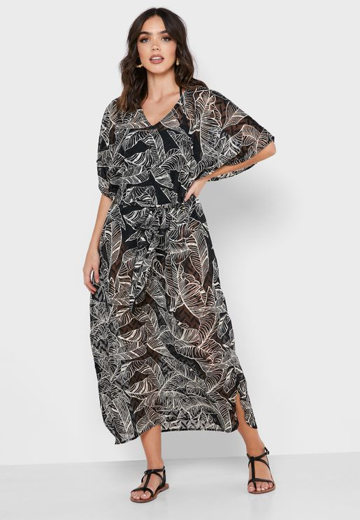 Front Tie Printed Cover Up