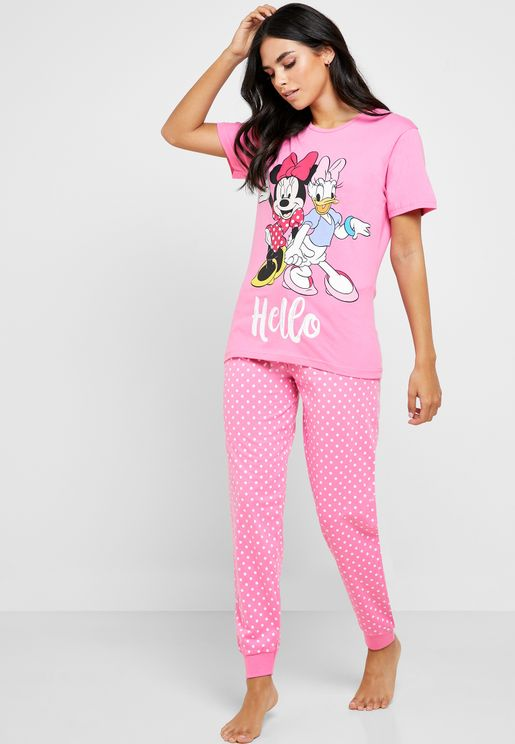 Minnie And Daisy Graphic T-Shirt & Pyjama Set