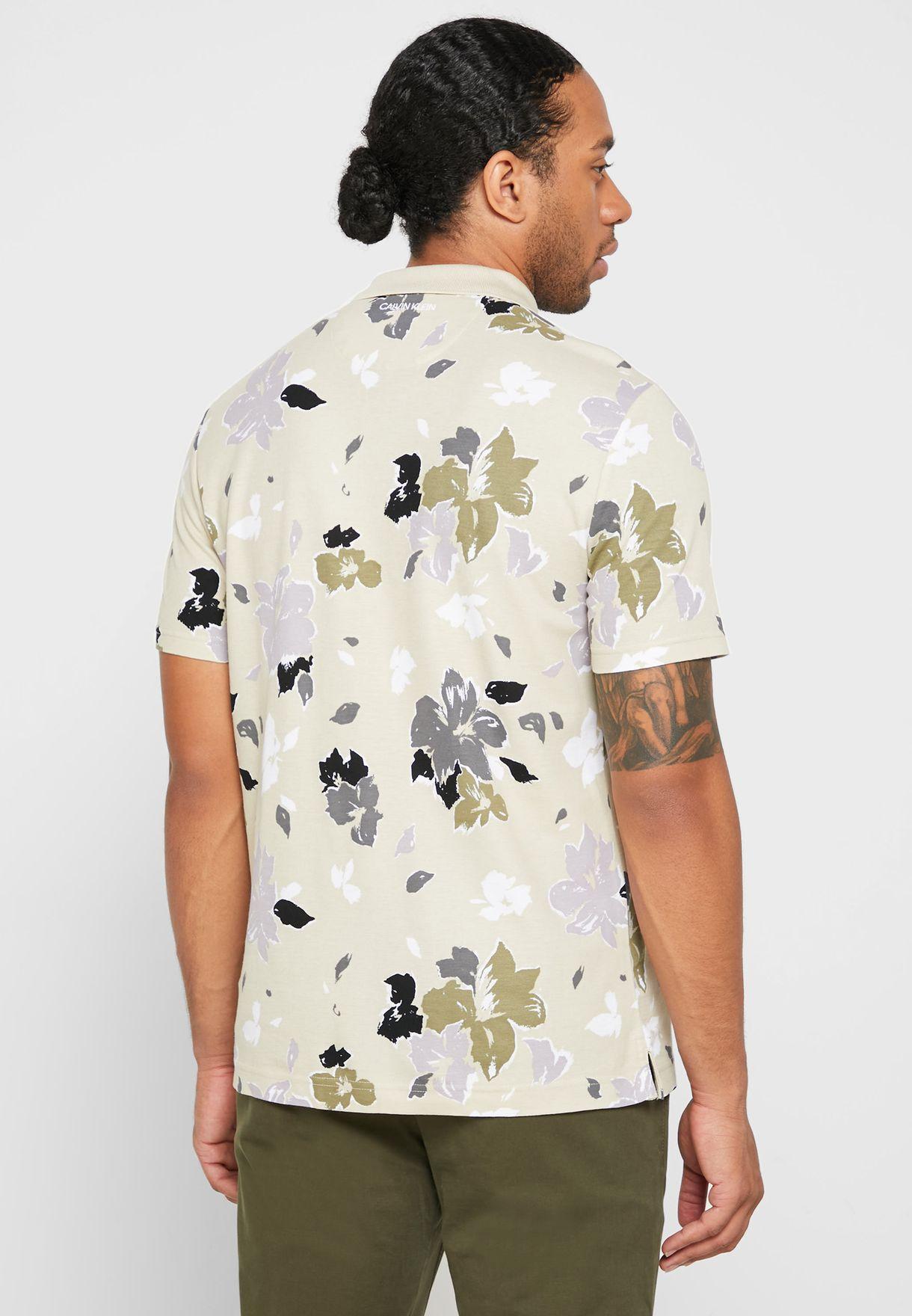 Floral Print Polo