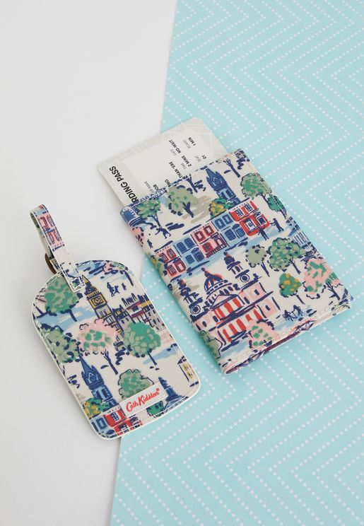 Floral Luggage And Passport Holder Travel Set