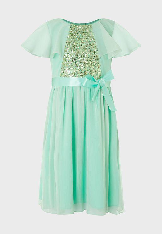 Kids Ellie Cape Sequin Dress