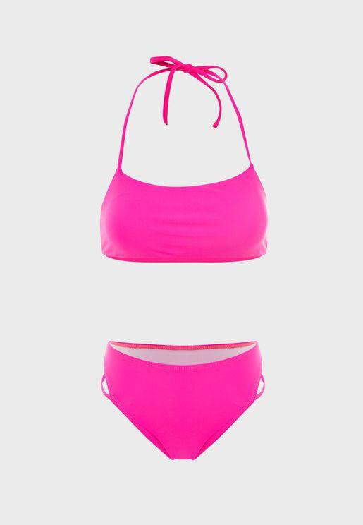 Joanne Strap Detail Halter Neck Bikini Set