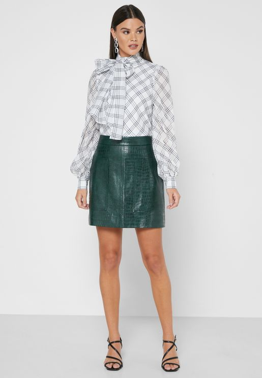 Oswine Pleather Mini Skirt