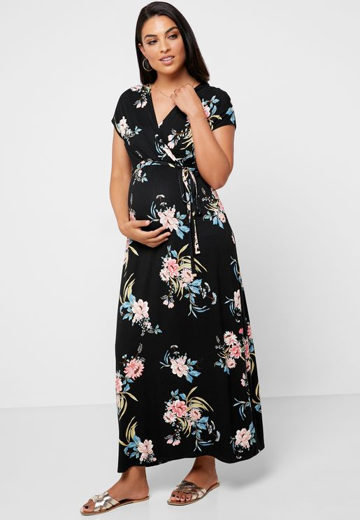 Tropical Print Wrap Maxi Dress