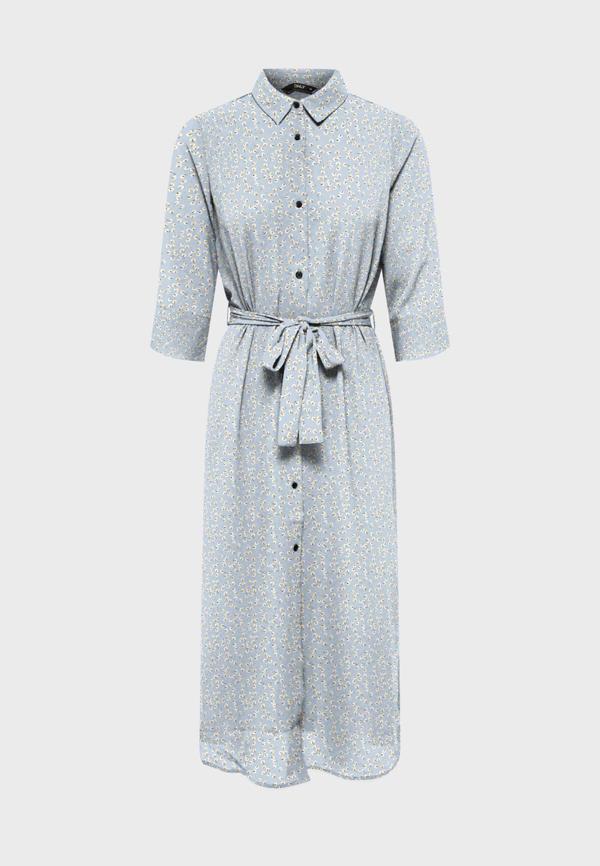 فستان مطبع باربطة خصر