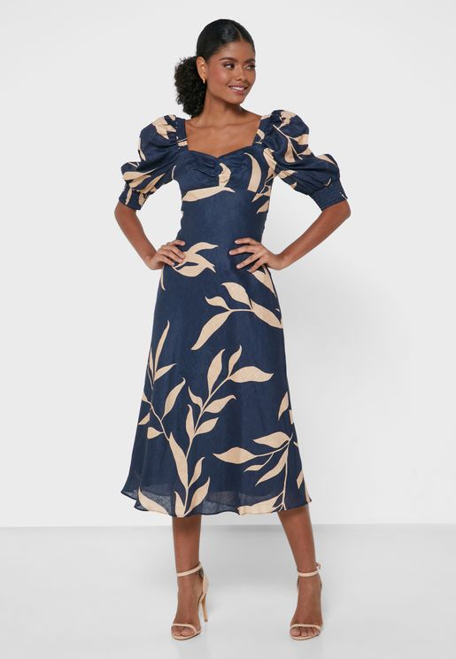 Puff Sleeve Printed Dress
