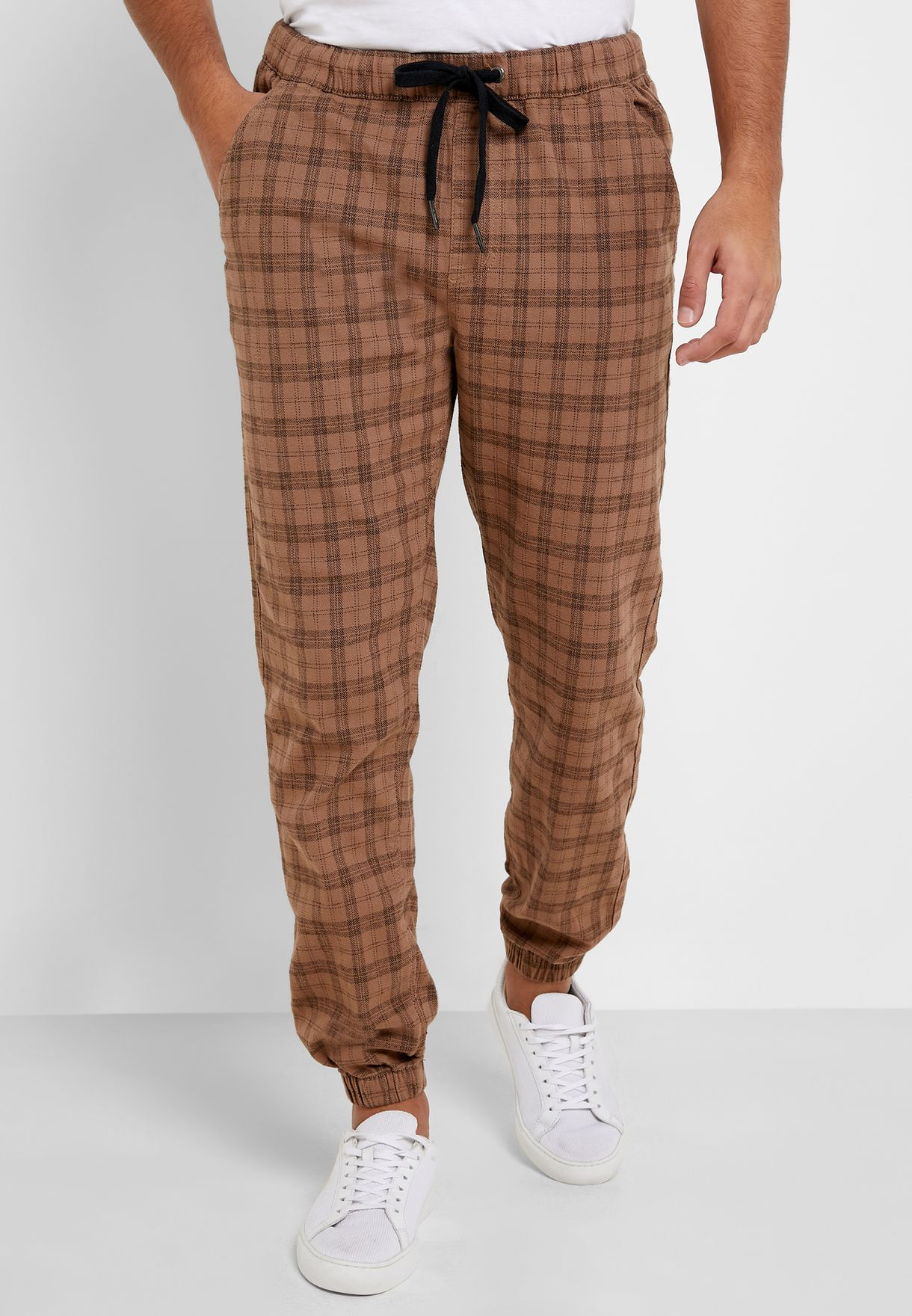Checked Cuffed Joggers Pants