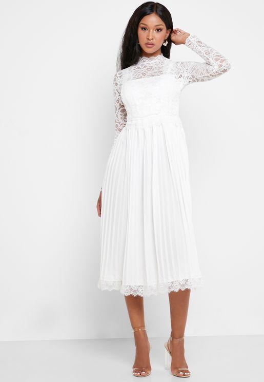 Lace Pleated Skirt Midi Dress