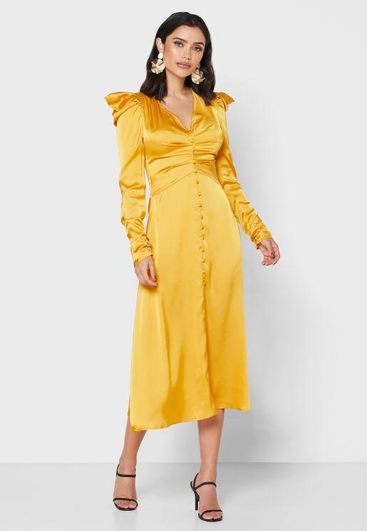 Puffed Shoulder Midi Dress