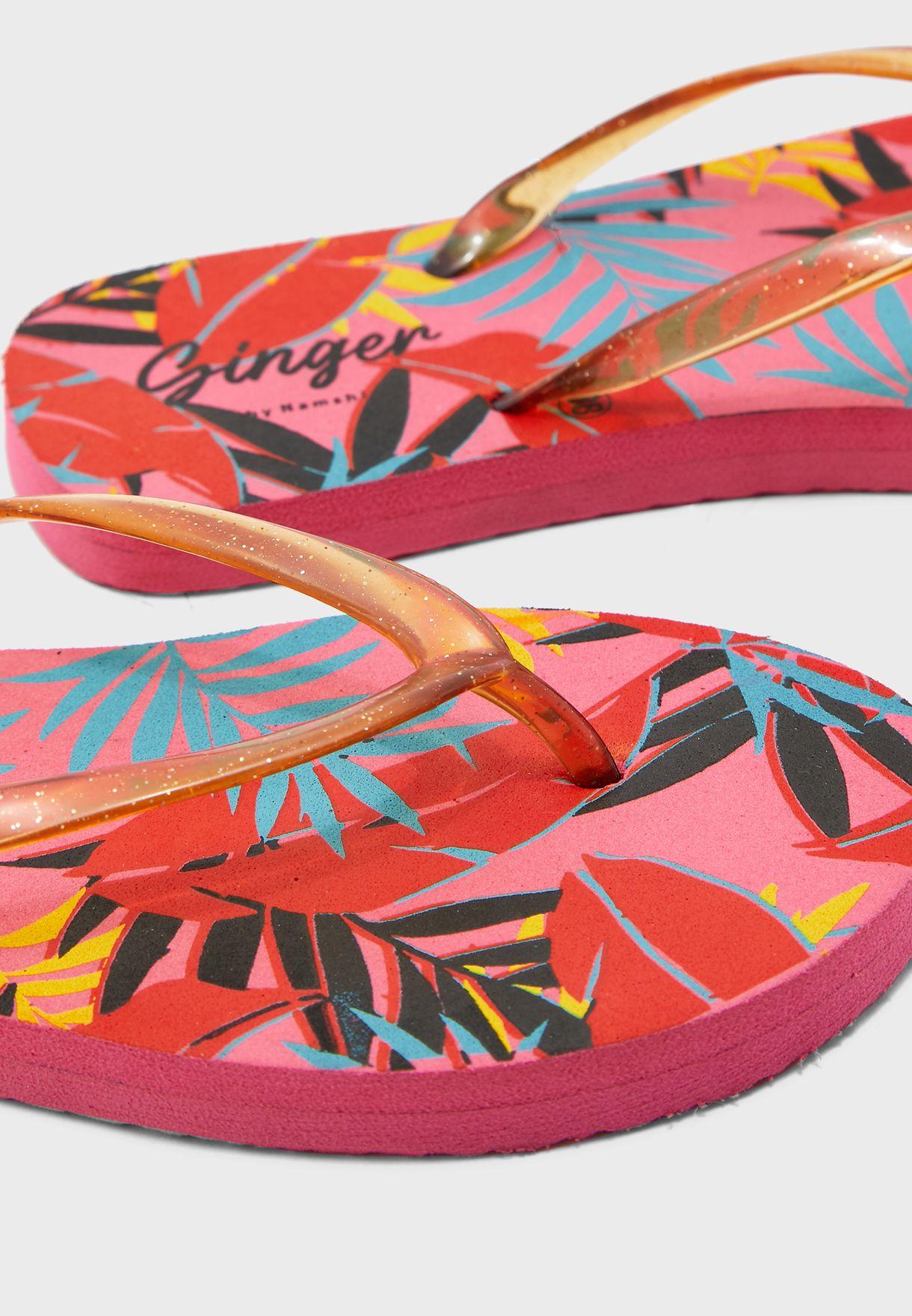 Tropical Leaf Print Flip Flops