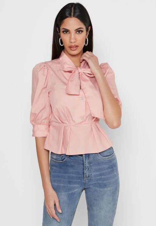Tie Neck Button Down Peplum Top