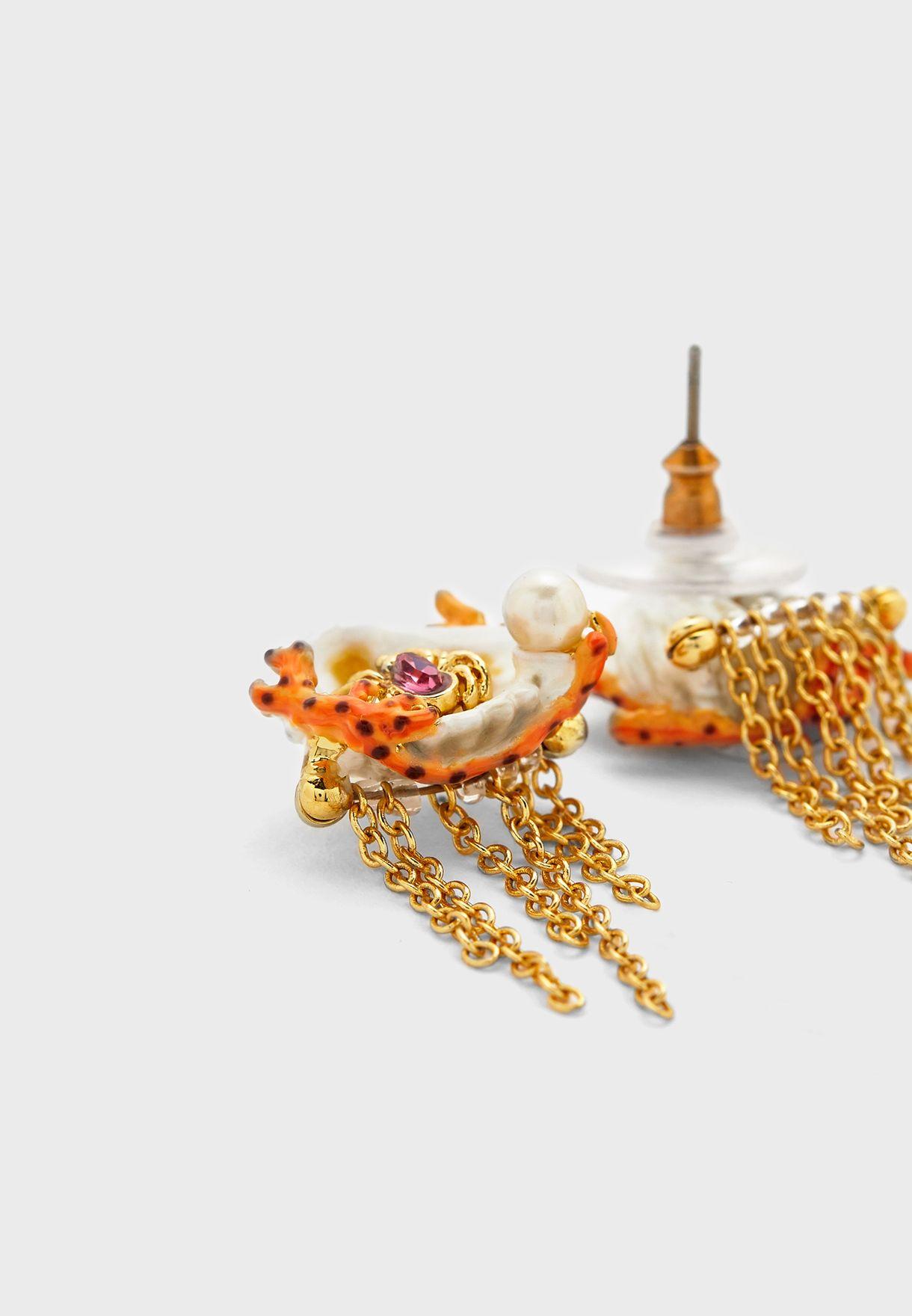 Coral Chain Drop Earrings