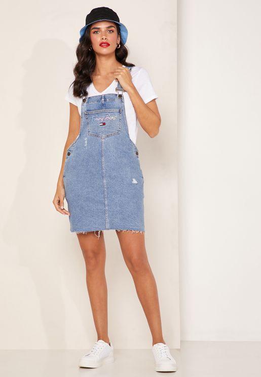 فستان جينز مزين بشعار الماركة