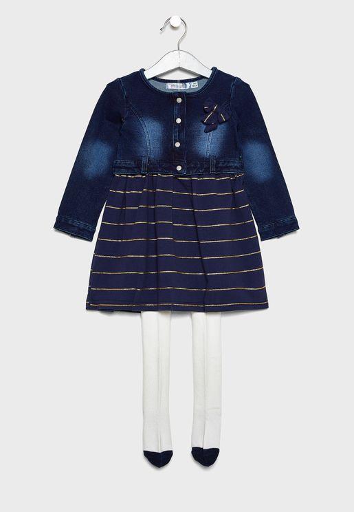 طقم (فستان مزين بفيونكة + بنطال ضيق)