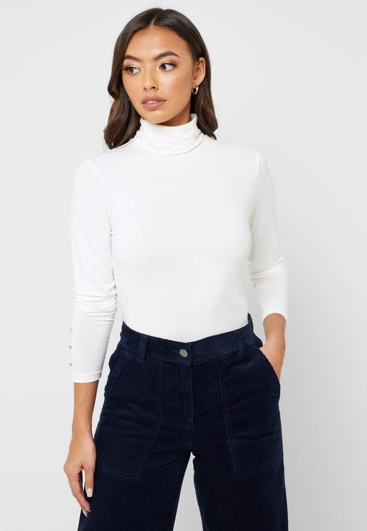 Button Detail Roll Neck Top