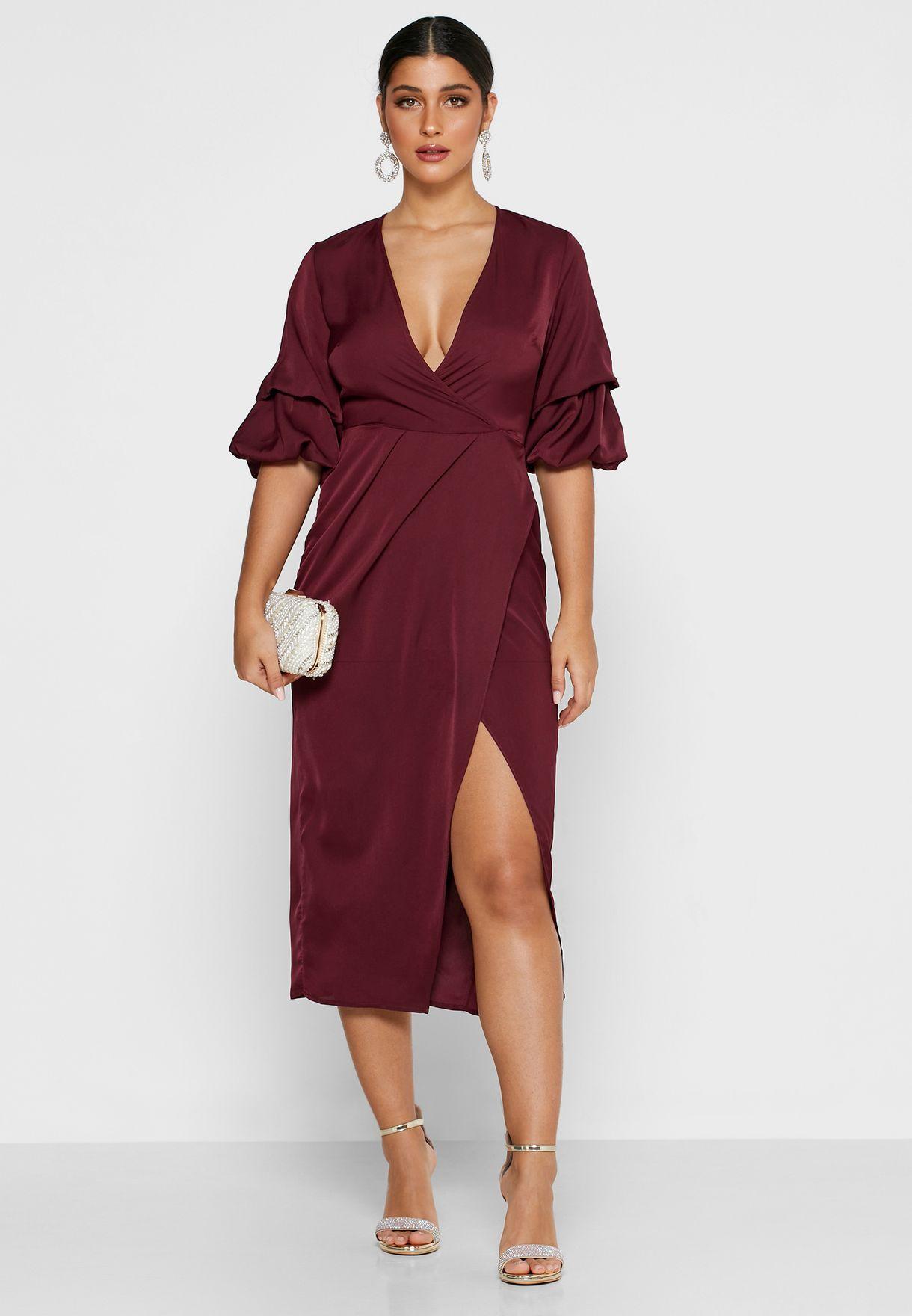 فستان ماكسي لف بأكمام واسعة