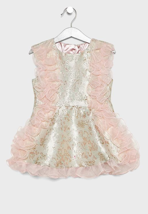 فستان لامع مزين بكشكش