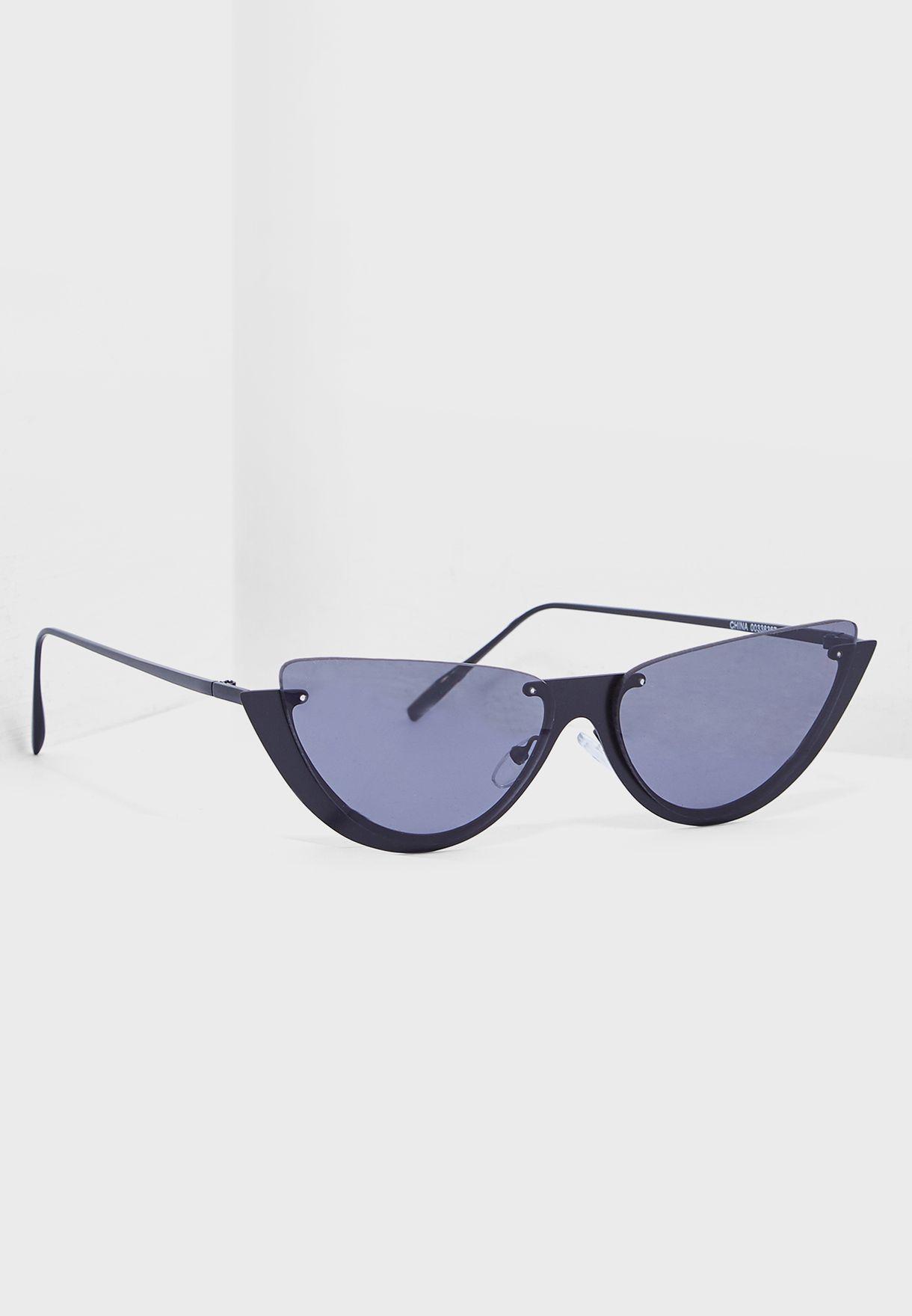 dc3098a8c Shop Forever 21 black Premium Metal Cat-Eye Sunglasses 338367 for ...