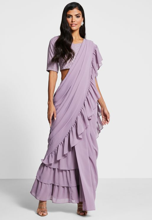 Ruffled Tiered Hem Sari Skirt