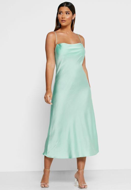 Cown Neck Satin Cami Slip Dress