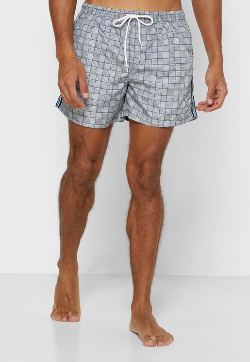 Checked Print Side Tape Swim Short