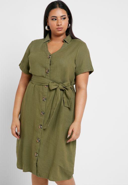 Asymmetric Linen Blend Dress