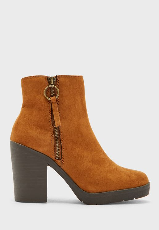 Abby Zip Detail Ankle Boot