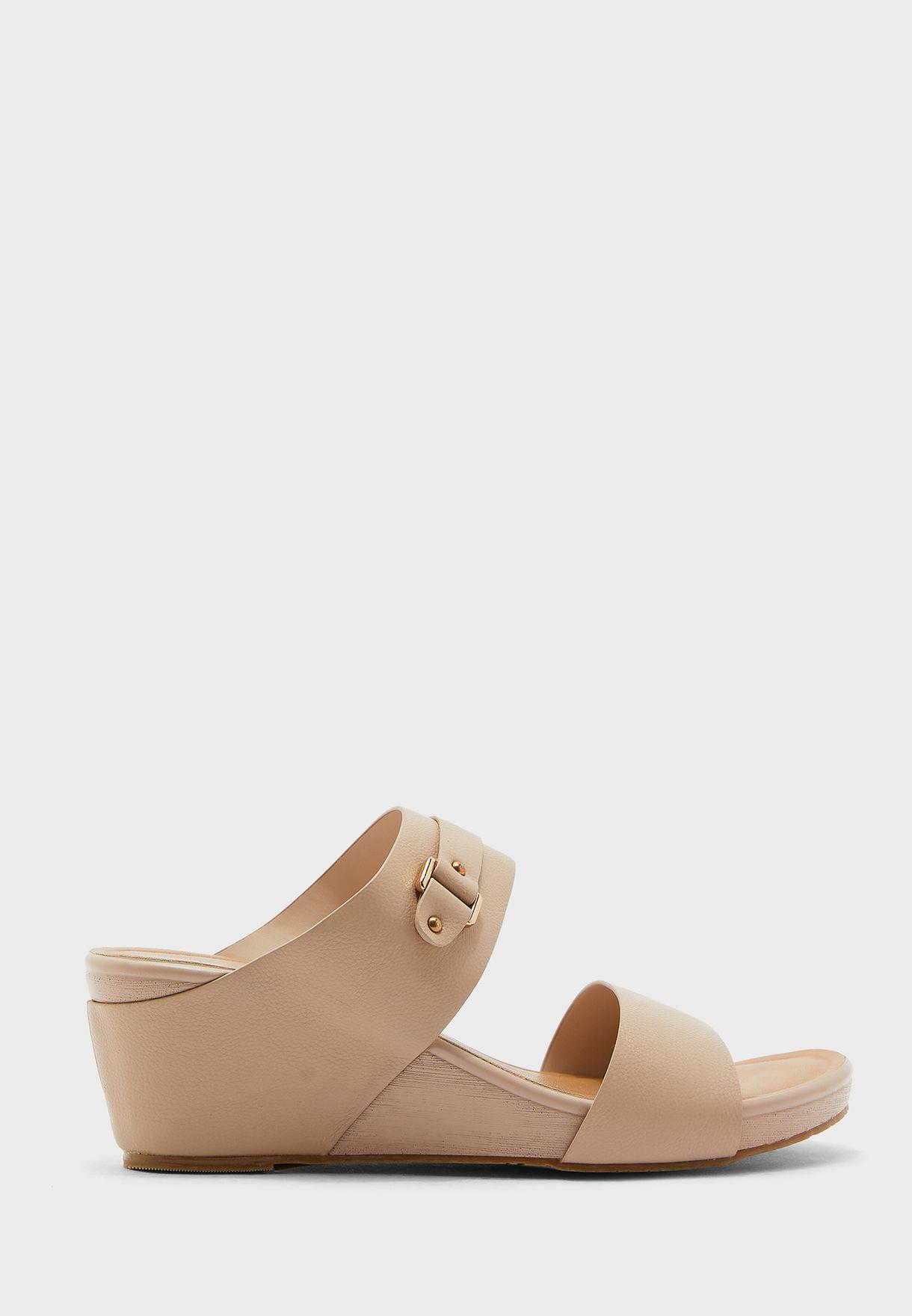 Buckle Detail Wedge Mid Heel Sandal