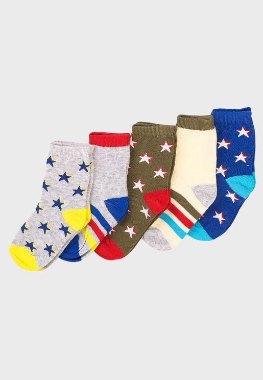 Infant 5 Pack Stars Socks