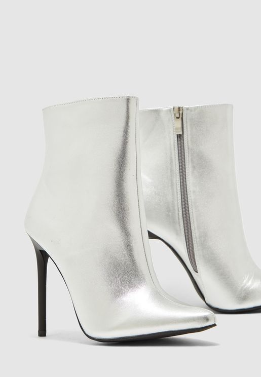 Heeled Ankle Boots In Metallic