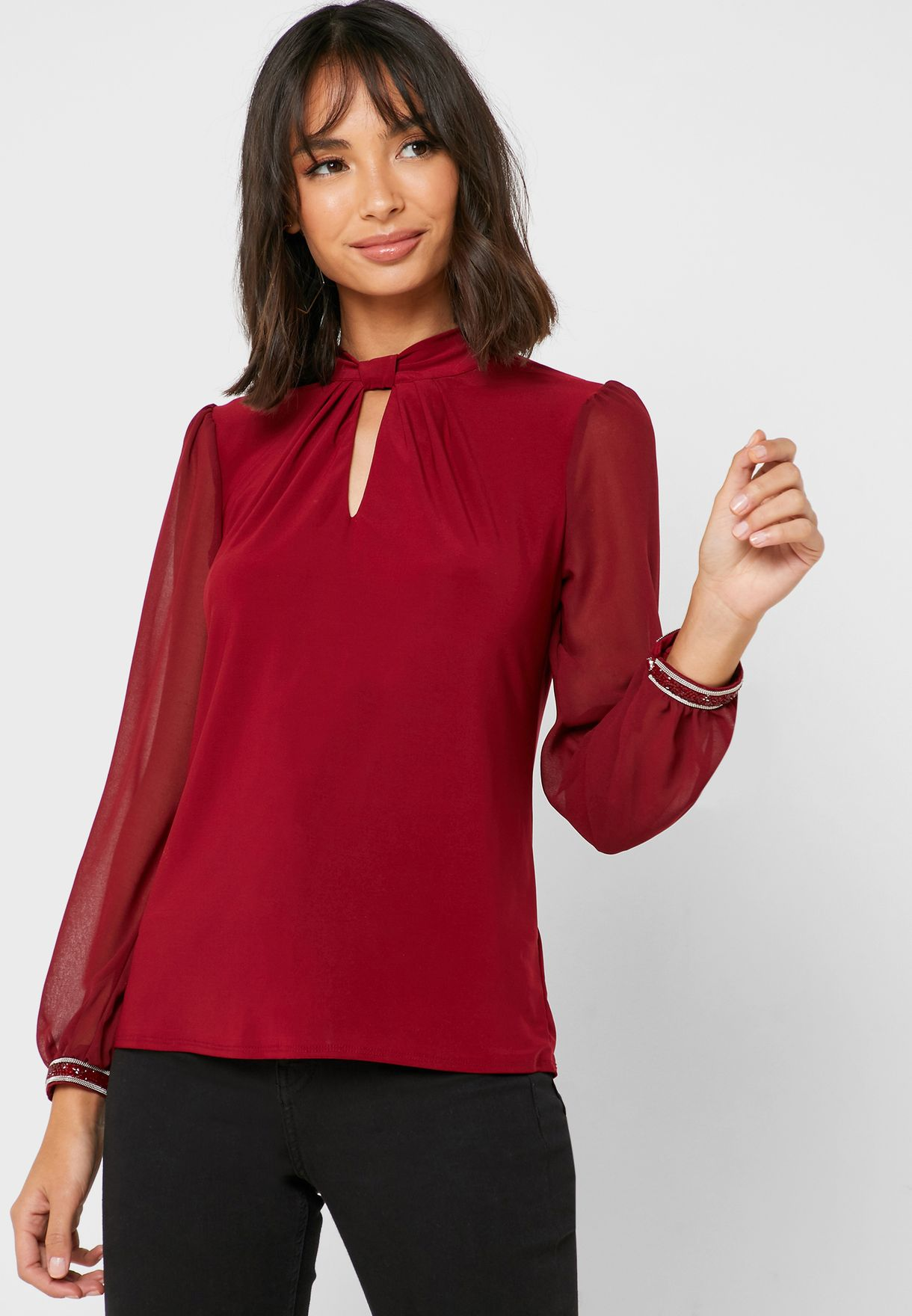 Front Keyhole Trim Cuff Top