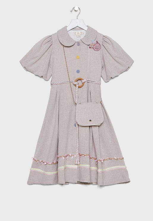فستان باكمام منفوشة مع شنطة