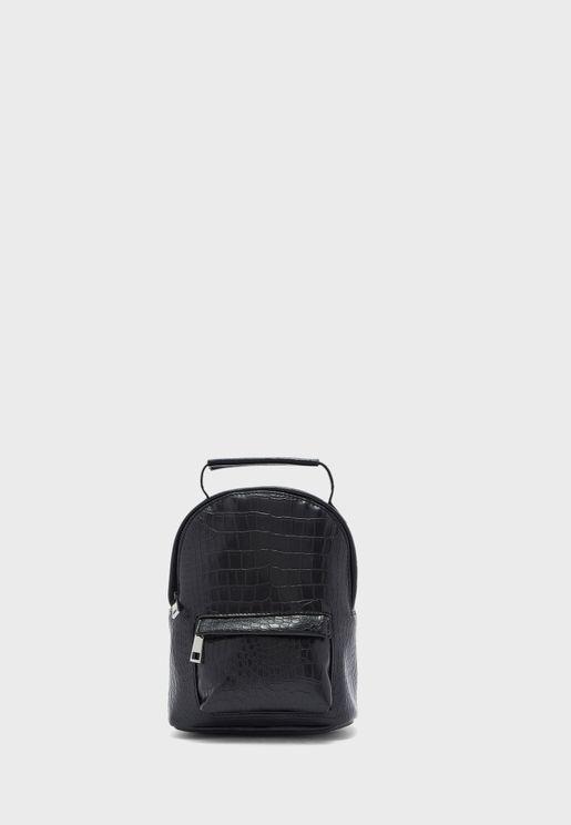 Front Zip Textured Backpack