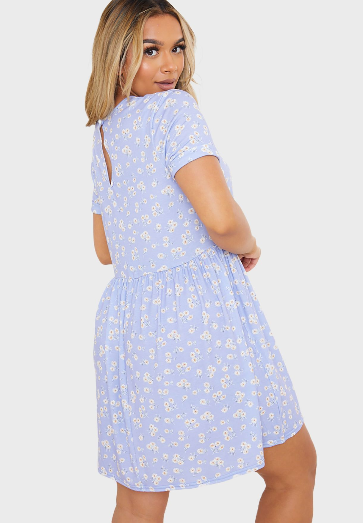 Floral Cap Sleeve Smock Mini Dress