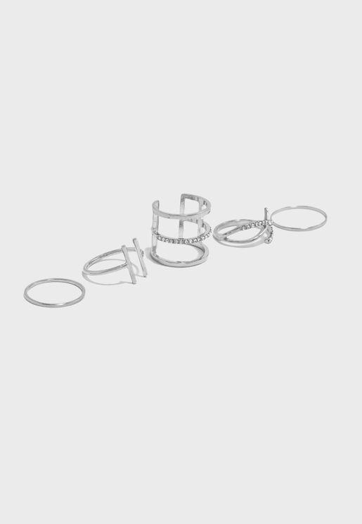 Multipack Diamante Detail Ring Set