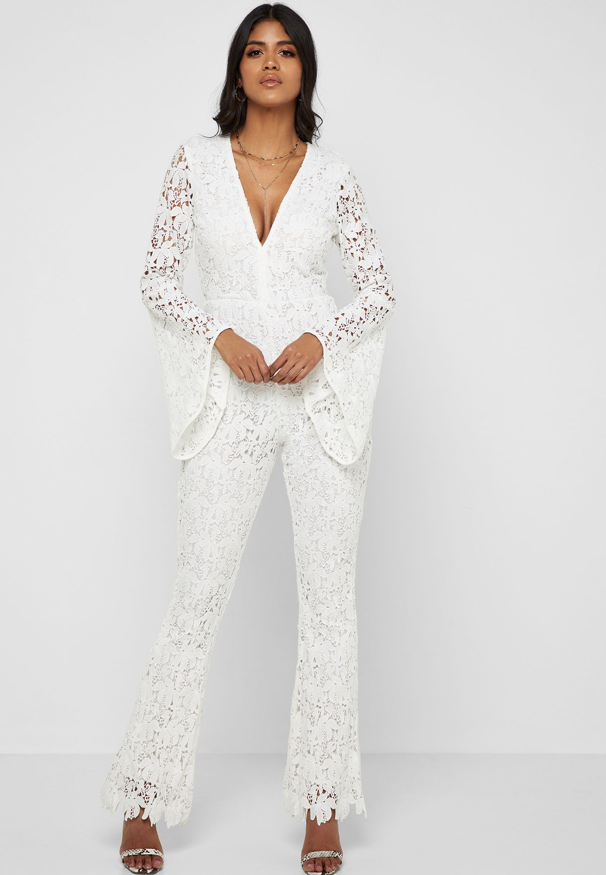 da3d0aa6d3ae Shop Missguided white Lace Detail Long Sleeve Jumpsuit WXM9905474 ...