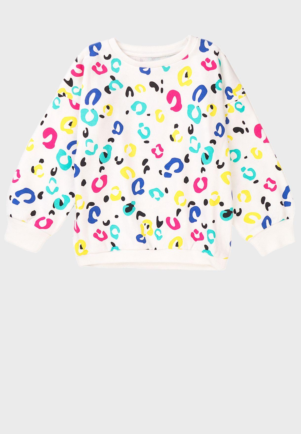 كنزة بطبعات ملونة