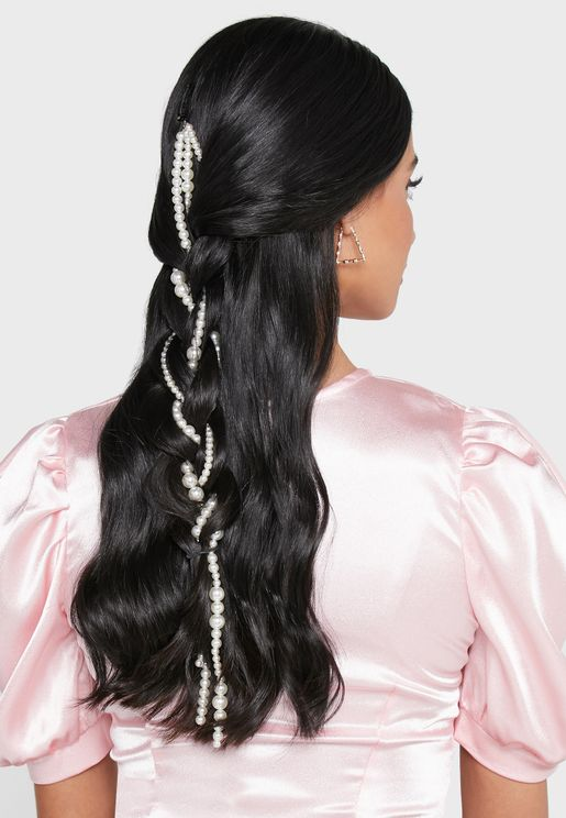 Triple Strand Pearl Hair Piece