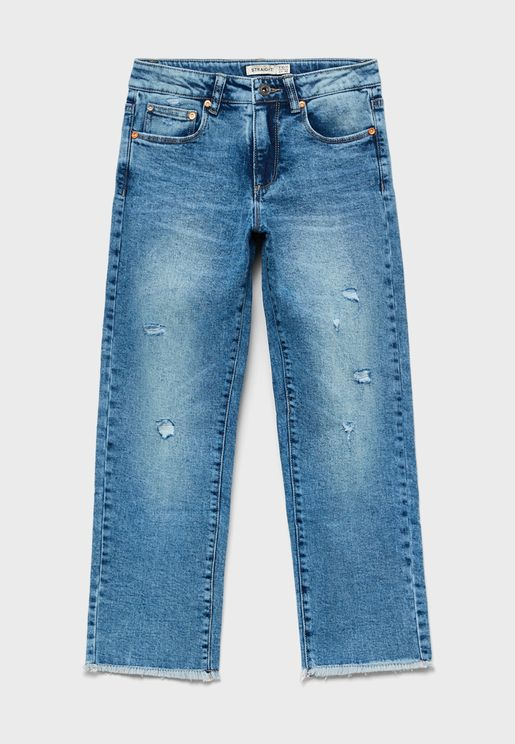 Youth Distressed  Straight Fit Jeans