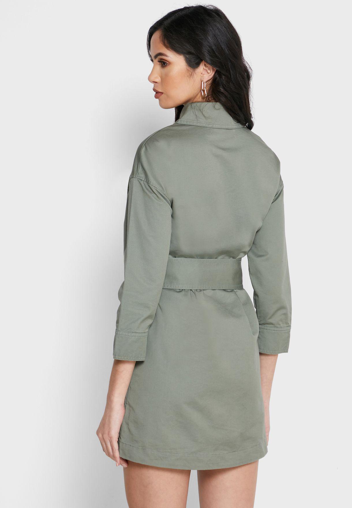 Tie Waist Full Zip Dress