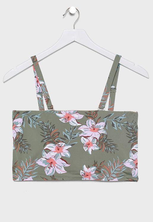 Floral Print Bandeau Bikini Top