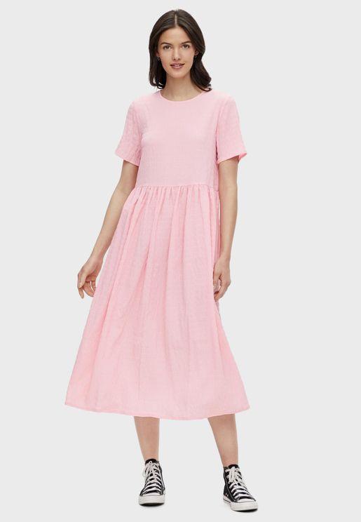 فستان ميدي مزين بطيات