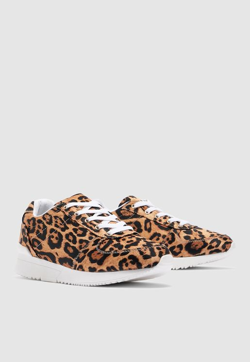 Tate Leopard Panel Sneaker -Animal print