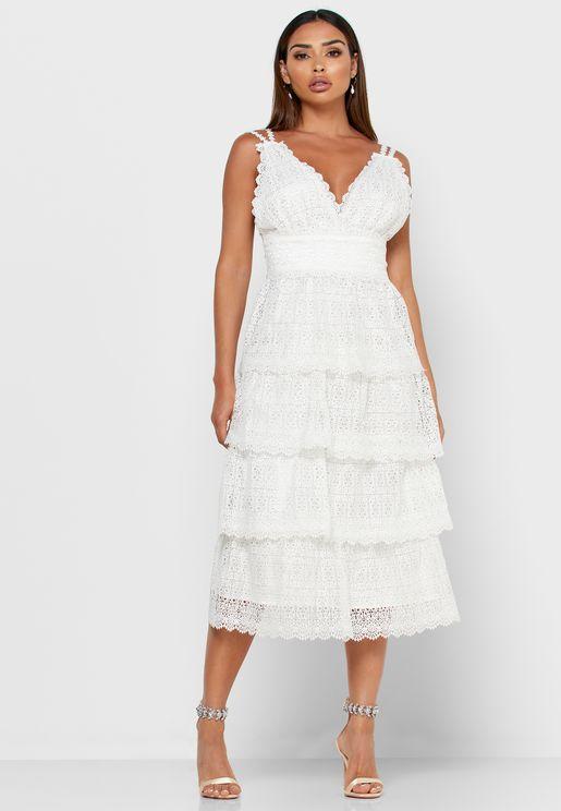 فستان طبقات دانتيل