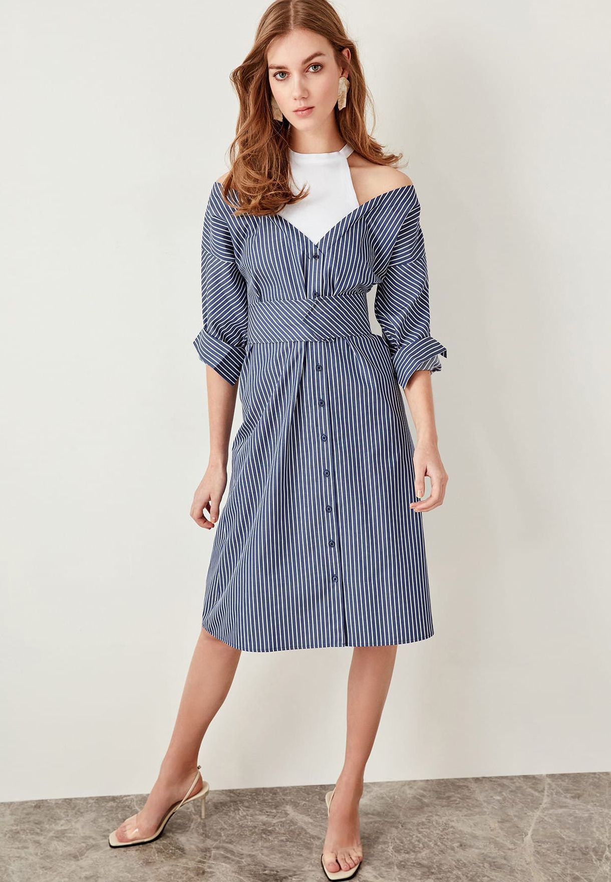 28410eaab6fa Shop Trendyol prints Striped Belted Shirt Dress TCLSS19OA0003/MAVI ...